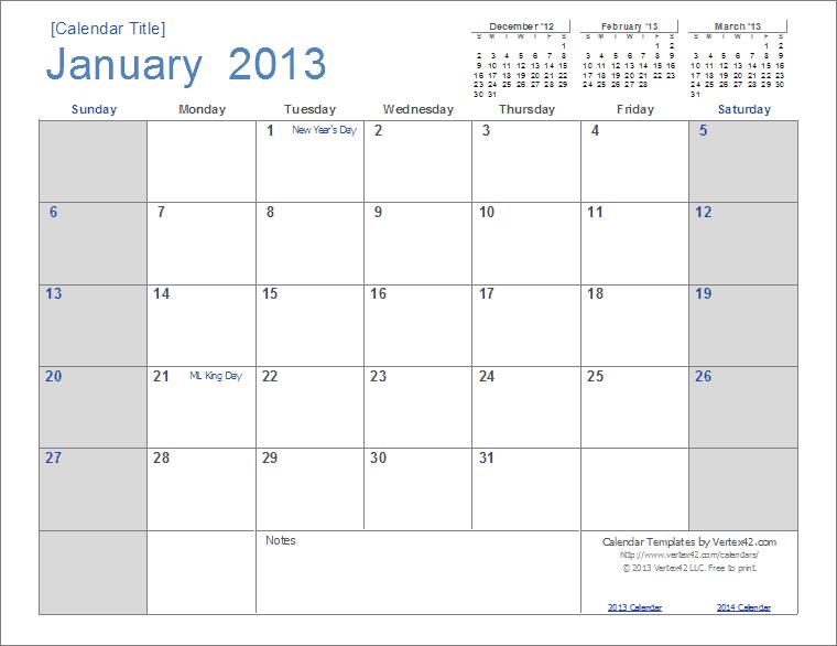 2013 Monthly Calendar Template 2013 calendar template