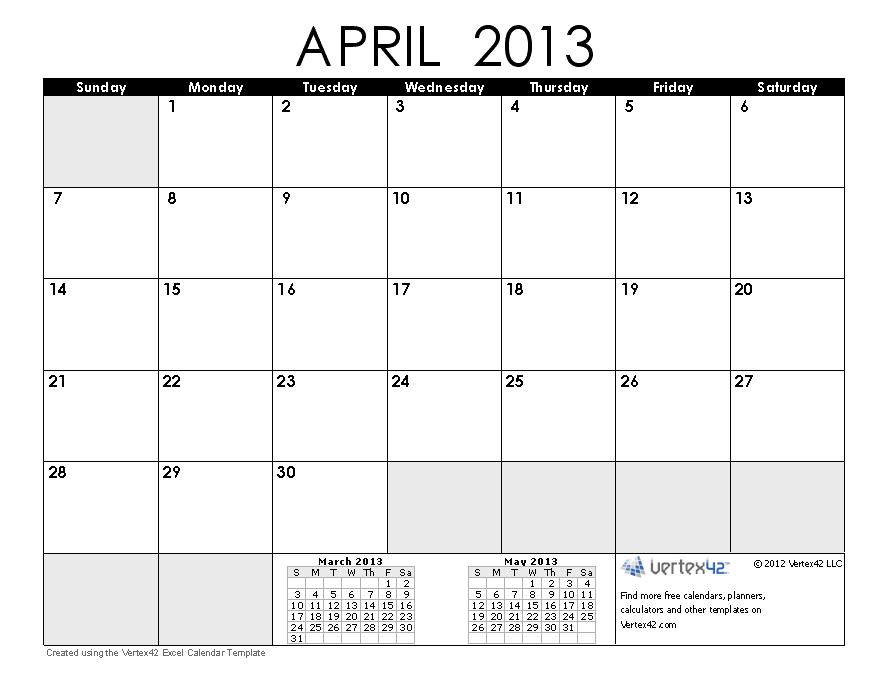 Calendar April 2013 : Free calendars and calendar templates printable