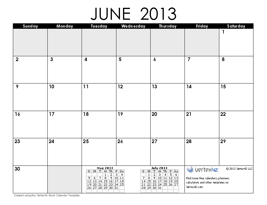Calendar June 2013 : Free calendars and calendar templates printable
