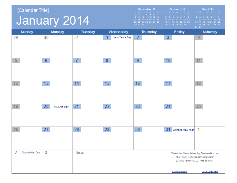 2014 Calendar Templates and Images - Monthly and Yearly