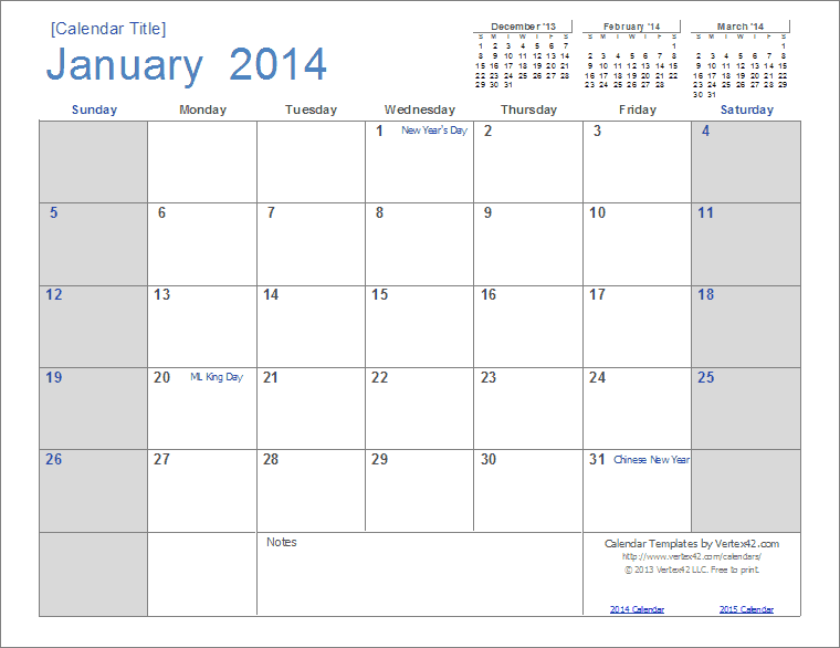 2014 calendar templates and images monthly and yearly