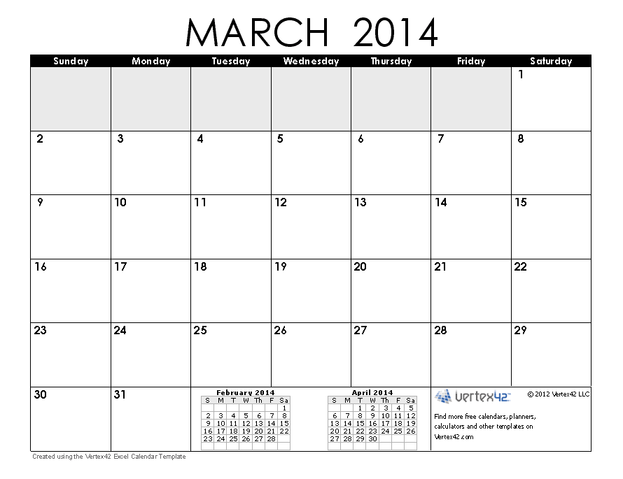 Monthly Printable March 2014 Calendar
