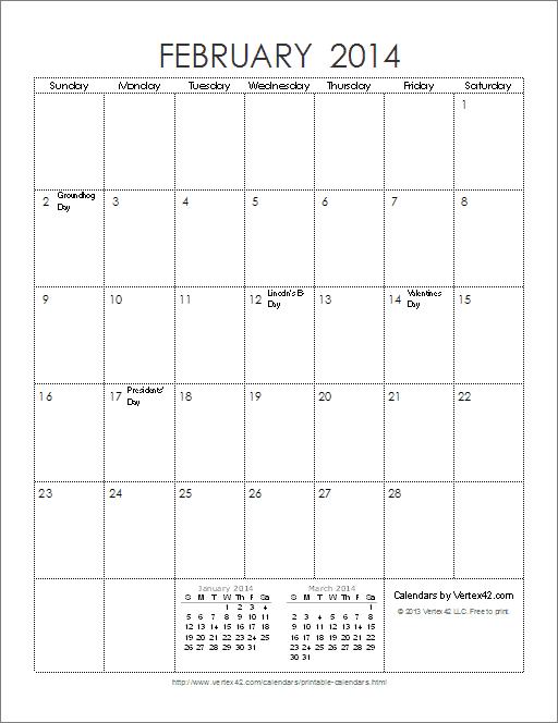Free Printable Calendar - Printable Monthly CalendarsJanuary 2014 Calendar Printable Portrait