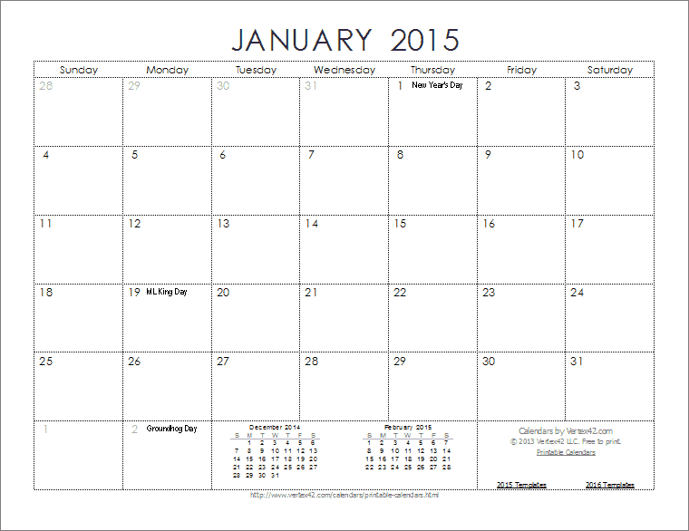 monthly calendar template 2015