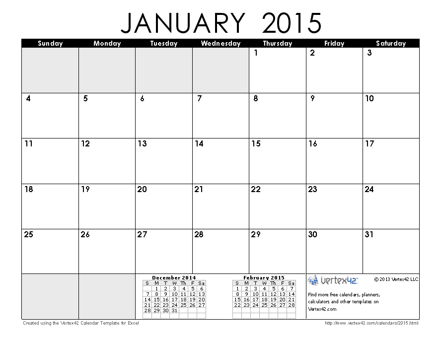 printable cute january 2015 calendar templates and note holidays