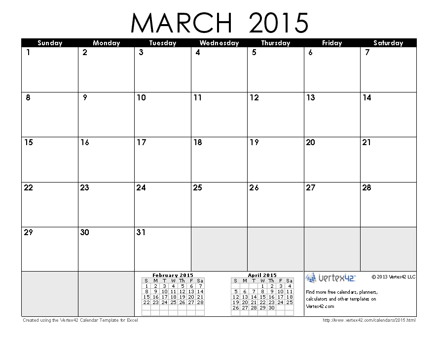 2015 Monthly Calendar Printable Pdf | newhairstylesformen2014.com