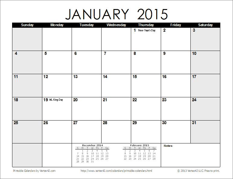 free blank calendar 2015