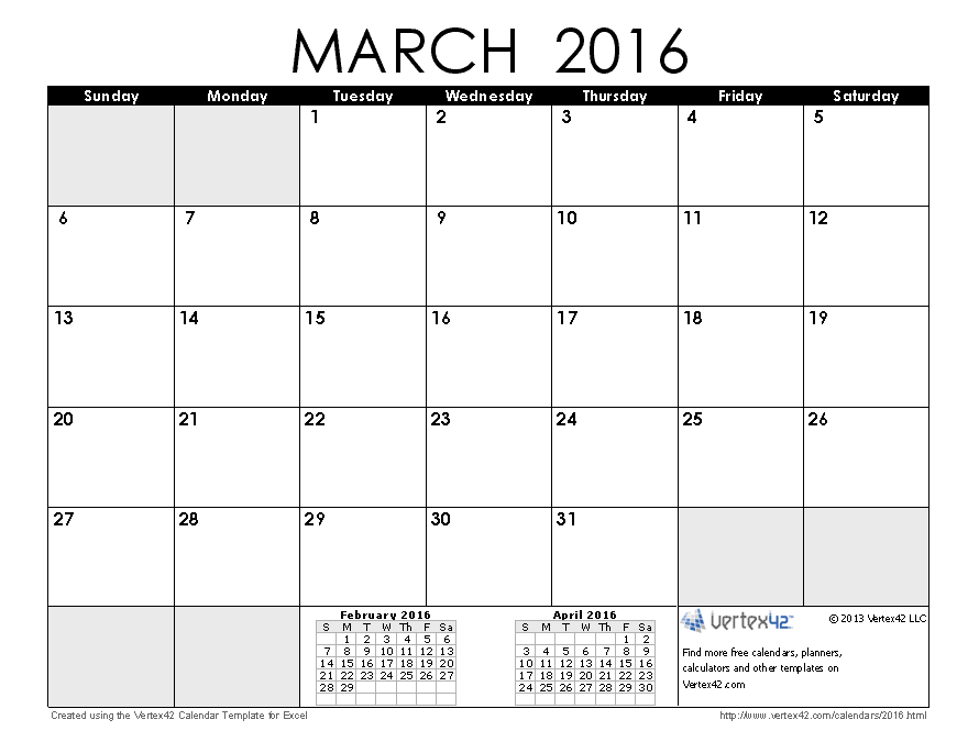 Download March 2016 Calendar