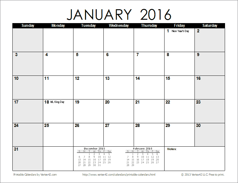2016 Printable Calendar By Month | newhairstylesformen2014.com
