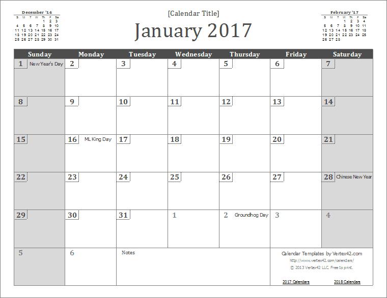 january 2017 calendar printable template .