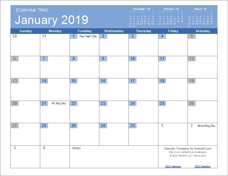 Calendar 2019 Download Excel